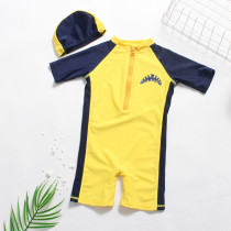 Kid Boys Print Shark Swimsuit With Swim Cap
