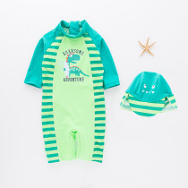 Toddler Boys Print Dinosaur Stripes Swimsuit With Swim Cap