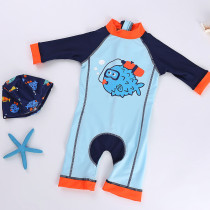 Toddler Boys Print Fish Blue Swimsuit With Swim Cap