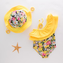 Toddler Girl One Shoulder Rufflles Print Flower Swimsuit With Swim Hat