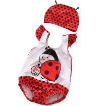 Baby 3D Cute Ladybugs Swimsuit With Swim Cap 0-3 Years