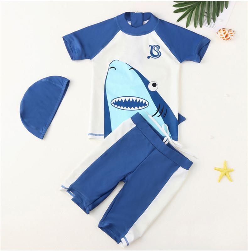 Kid Boys Print Shark Swimwear Sets Short Sleeve Top and Trunks With Swim Cap