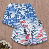 Boys Print Beach and Coconut Tree Shorts