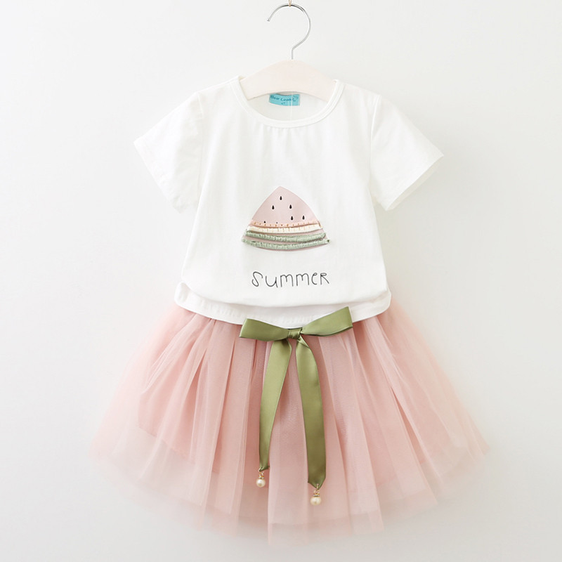 Girls Prints Watermelon T-shirt and Tutu Skirt Two-Piece Outfit