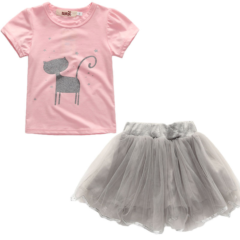 Girls Prints Cat T-shirt and Tutu Skirt Two-Piece Outfit