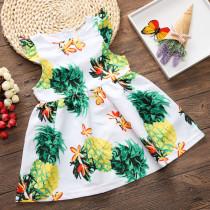 Girls Print Yellow Pineapples Skater Dress