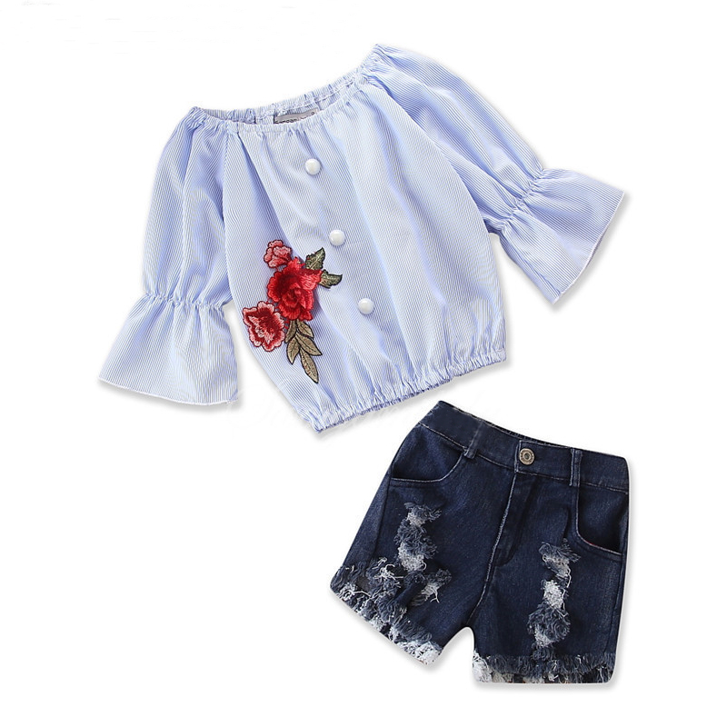 Girls Bell Sleeves Embroidery Blouse and Ripped Denim Shorts Two-Piece Outfit