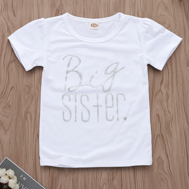 Girls Print Big Sister Silver Slogan T-shirts