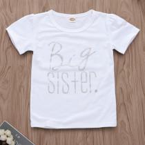 Girls Print Big Sister Silver Slogan T-shirts