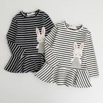 Girls Rabbit Long Sleeves Stripes Dress