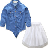 Mommy and Me Denim Tie Up Blouse and Tutu Skirt Two-piece Outfits