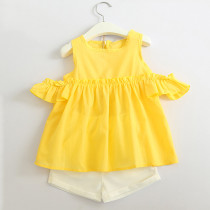 Girls Yellow Ruffles Cold-Shoulder Blouse and White Shorts Two-Piece Outfit