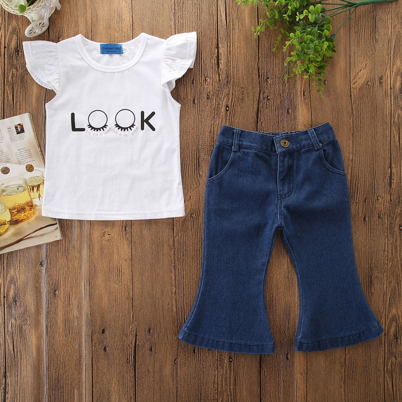 Girls Ruffles Print Pearls Blouse and Flared Jeans Two-Piece Outfit