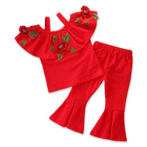 Girls Embroidery Rose Straps Ruffles Blouse and Flared Pant Two-Piece Outfit