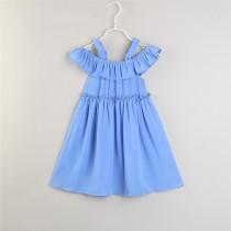 Mommy and Me Blue Off The Shoulder Slip Dresses