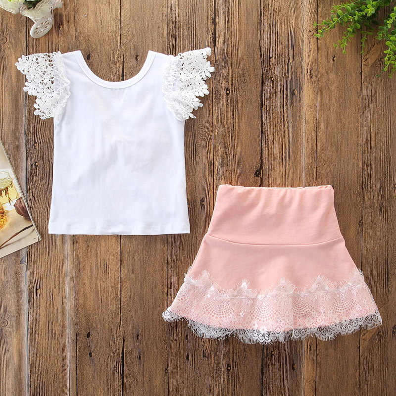Girls Ruffles Lace Blouse and Pink Skirt Two-Piece Outfit
