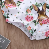 Baby Girl Print Rabbits Flowers Bodysuit