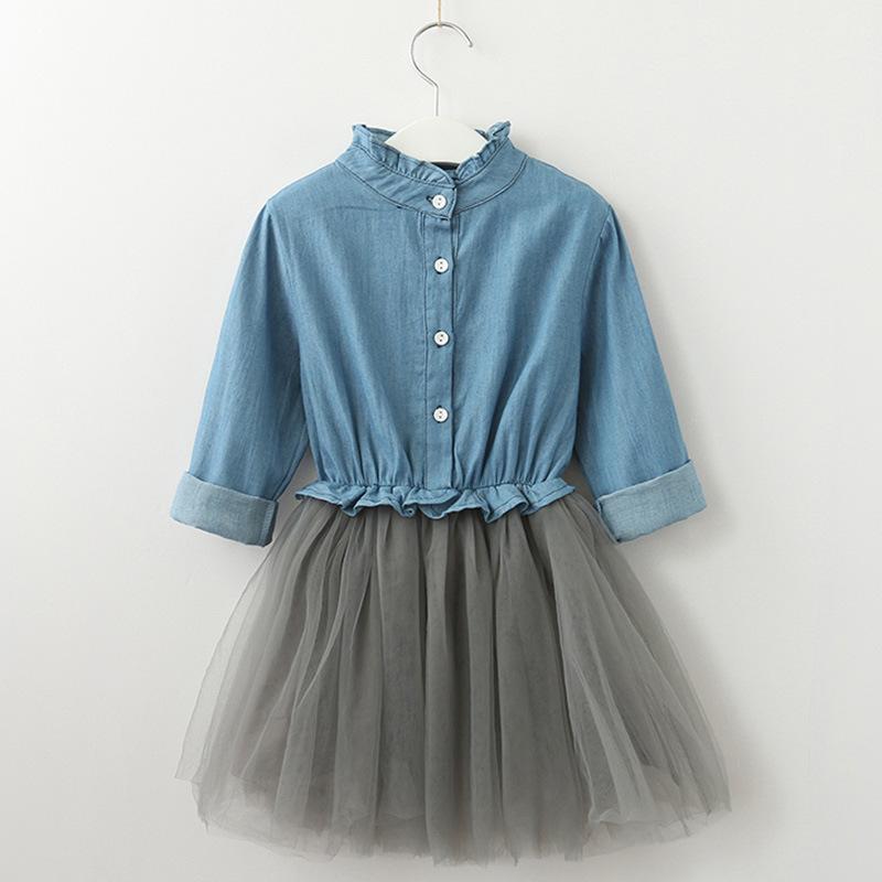 Girls Denim Ruffles Long Sleeves Top Princess Tutu Dress