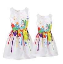 Mommy and Me Colorful Scrawl Prints A-line Sleeveless Dresses
