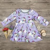 Girls Print Unicorns Purple Skaters Dress