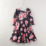 Mommy and Me Black Flowers Family Matching Skater Dresses