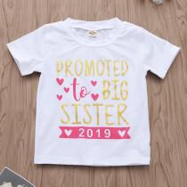 Girls Print 2019 Slogan Hearts T-shirts