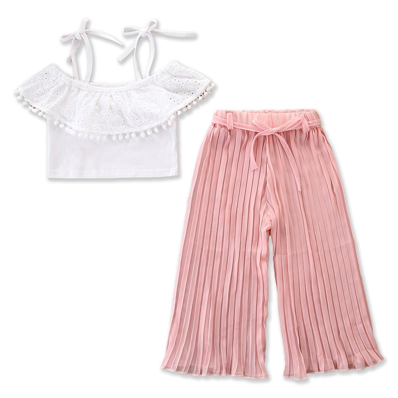 Girls White Cut Out Pompom Straps Tops and Pink Folded Pants Two-Piece Outfit