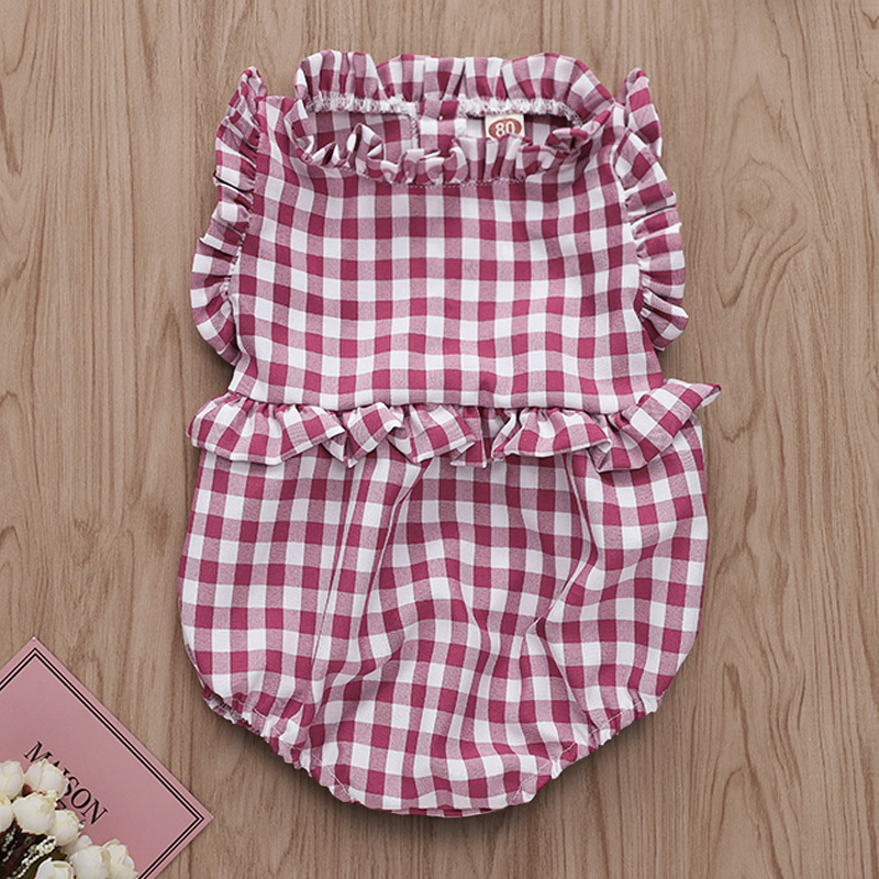 Baby Girl Red Plaids Ruffles Bodysuit