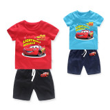 Boys Print Racing Cars T-shirts and Short Two-Piece Outfit