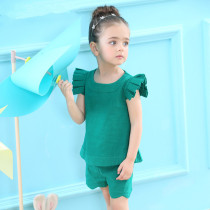 Girls Ruffles Sleeves Blouse and Shorts Two-Piece Outfit