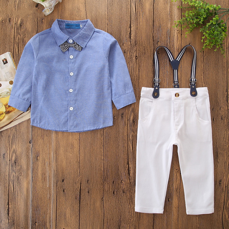 Boys 3-Piece Outfits Blue Long Sleeves Shirt and White Suspender Pant Dressy Up Clothes