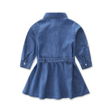 Mommy and Me Blue Denim Casual Matching Shirt Dresses