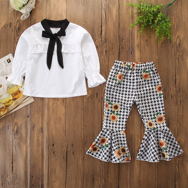 Girls White Rufflers Shirt and Print Houndstooths Sunflowers Flared Pant Two-Piece Outfit