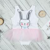 Toddler Girls Print Rabbit Tutu Ruffles Jumpsuits