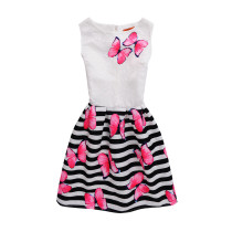 Girls Print Butterflies Stripes A-line Sleeveless Dresses