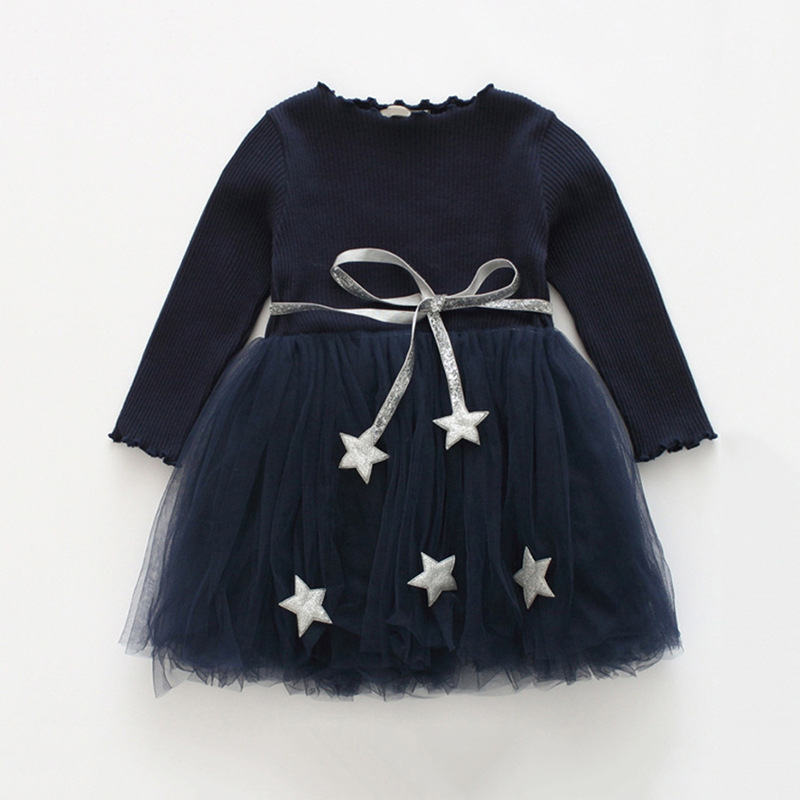 Girls Knit Long Sleeves Tutu Dress