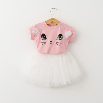 Girls Print Cat Sequins T-shirt and Butterfly Pearls Tutu Two-Piece Outfit