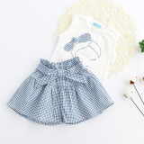 Girls Print Face White Tank and Plaids Shorts Two-Piece Outfit