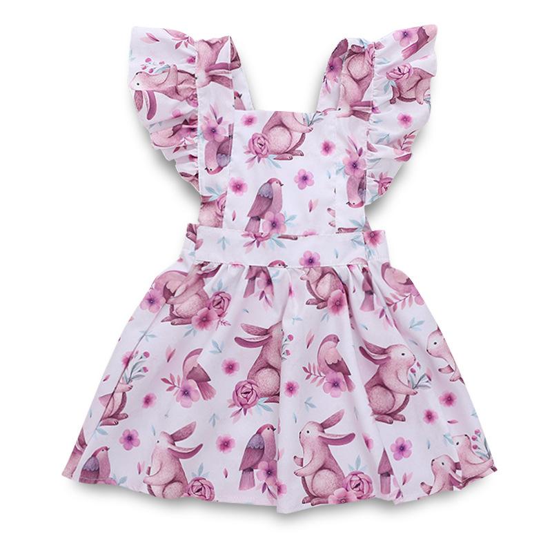 Toddler Girls Print Cartoon Rabbit Flowers Ruffles Dress