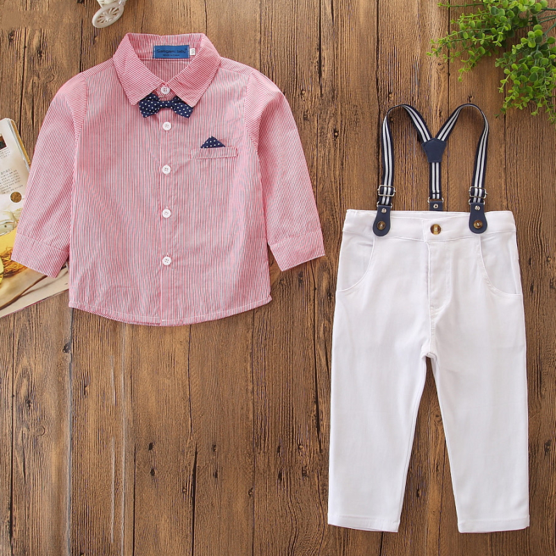Boys 3-Piece Outfits Pink Stripes Long Sleeves Shirt and White Suspender Pant Dressy Up Clothes
