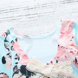 Baby Girl Print Flowers Long Sleeves Blue Bodysuit