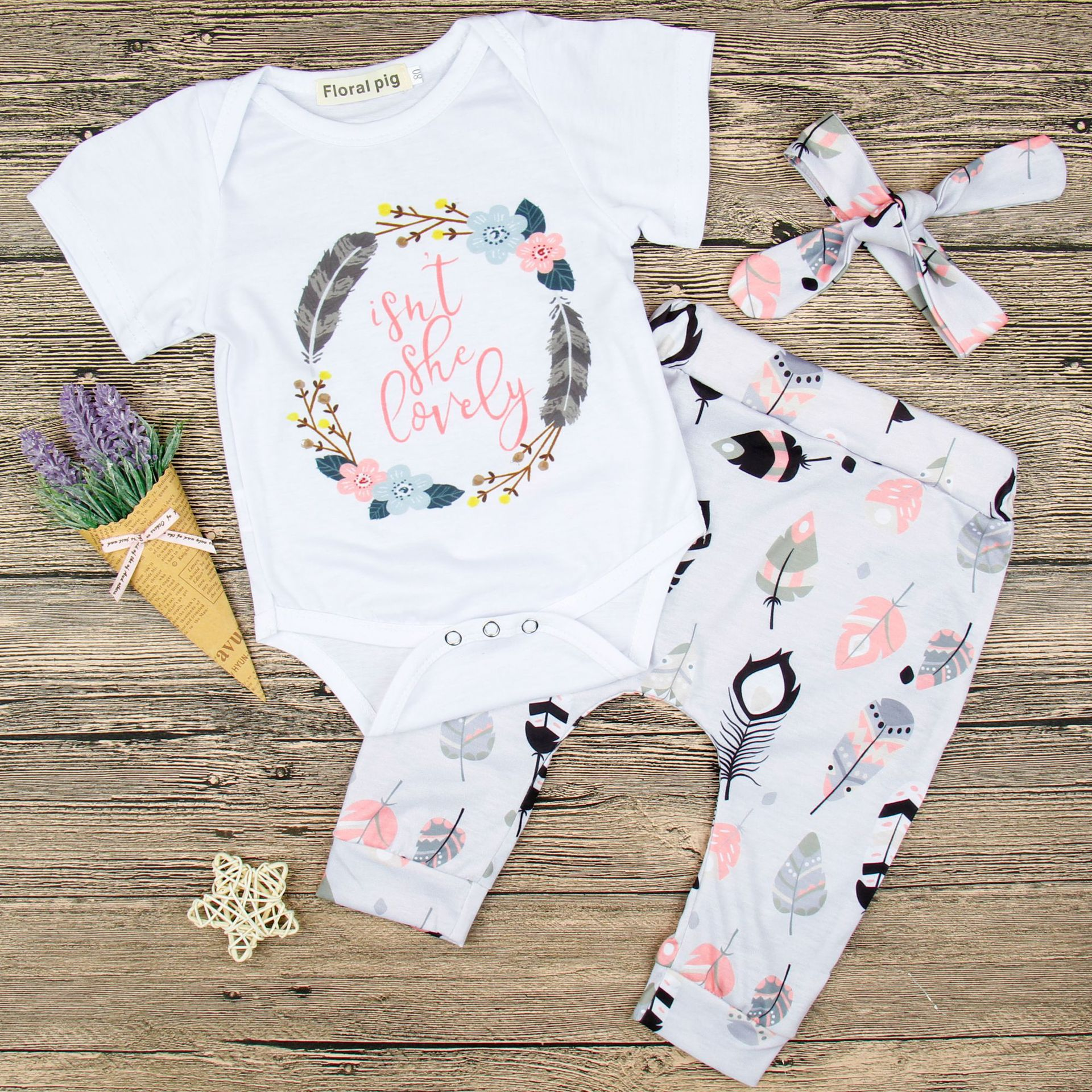 Baby Girl Print Slogans Short Sleeves Bodysuit and Leafs Pants Two Pieces Outfits with Hairband