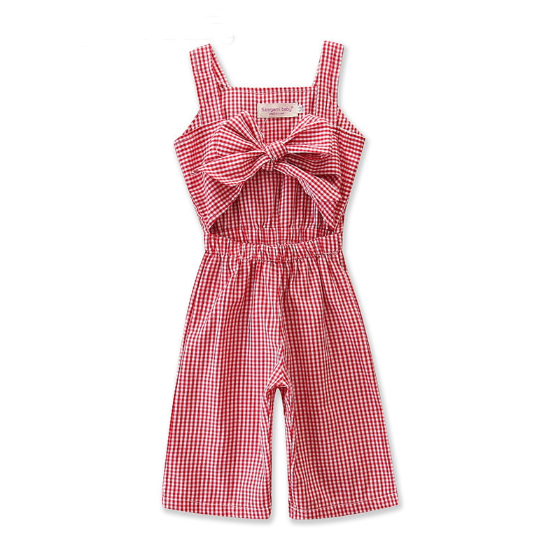 Girls Red Plaids Bowknot Cut Out Jumpsuits