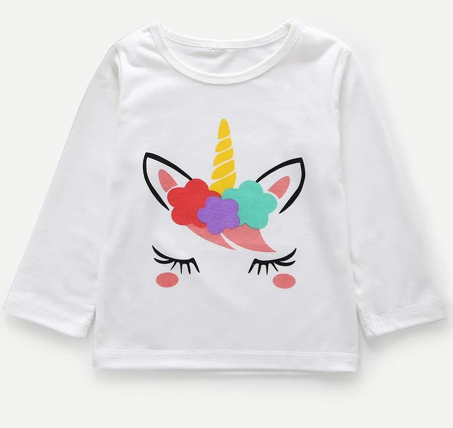 Girls Print Cartoon Unicorn Long Sleeves White Tee