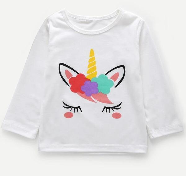 Girls Print Cartoon Unicorn Long Sleeves White Tee
