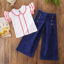 Girls Ruffles Sleeves Dots Blouse and Denim Jeans Two-Piece Outfit
