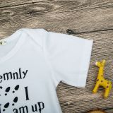 Baby Boy White Slogan Footprint Bodysuit
