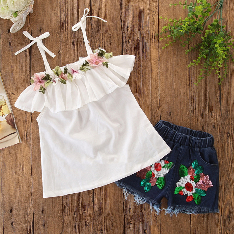 Girls Straps Flowers Lace Blouse and Sequin Jeans Shorts Two-Piece Outfit
