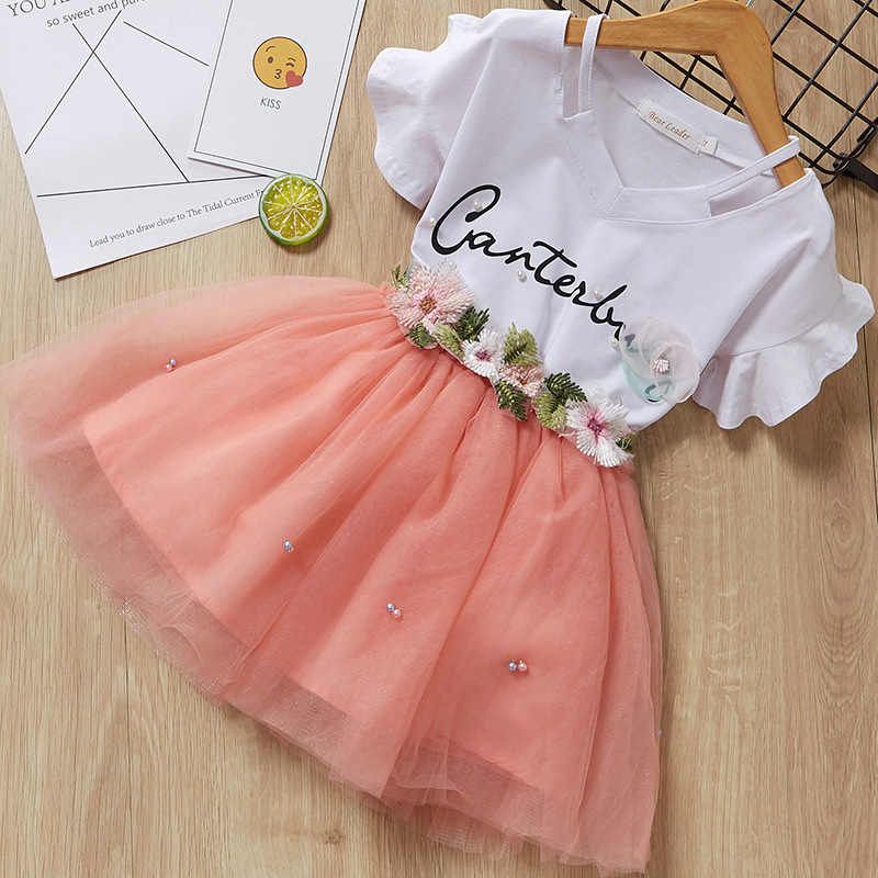 Girls Slogan Cut Out Blouse and Lace Flower Pearls Skirt Two-Piece Outfit