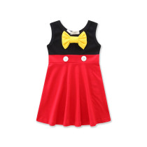 Girls 2 Colors Matching Yellow Bowknot Casual Dress